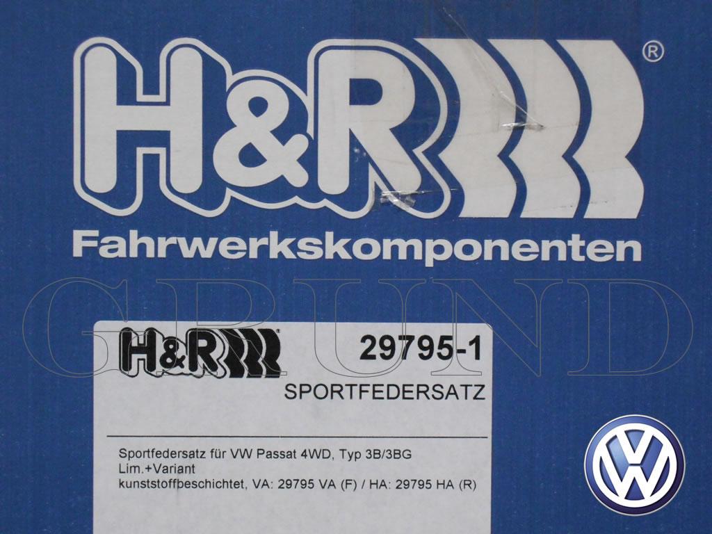 【H&R Sport Springs】スポーツスプリング|フォルクスワーゲン パサート 4モーション セダン&ワゴン【Volkswagen Passat 3B V6】【29795-1】