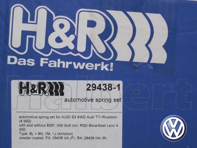 【H&R Sport Springs】スポーツスプリング|フォルクスワーゲン ゴルフ4 R32【Volkswagen Golf R32】【29438-1】