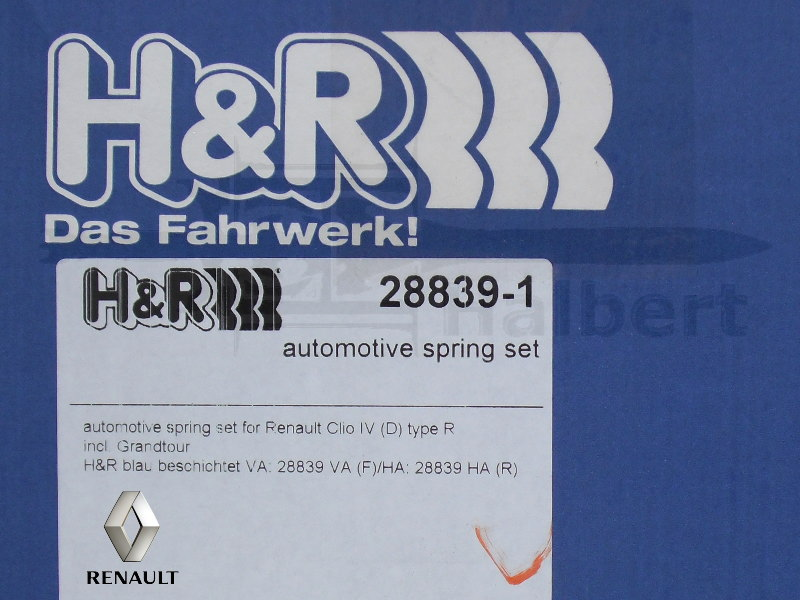 【H&R Sport Springs】スポーツスプリング|ルノー ルーテシア4 0.9 / 1.2【RENAULT LUTECIA RH】【28839-1】