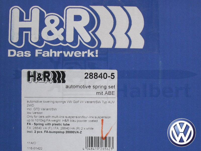 【H&R Sport Springs】スポーツスプリング|フォルクスワーゲン ゴルフ7 ヴァリアント ハイライン 1.4TSI / 2.0TDI【Volkswagen Golf7 Variant】【28840-5】