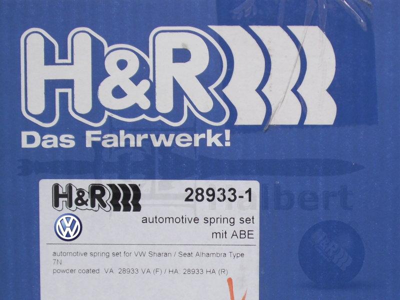 【H&R Sport Springs】スポーツスプリング|フォルクスワーゲン シャラン 7N 1.4 TSI / 2.0 TDI【Volkswagen Sharan】【28933-1】