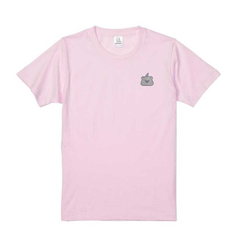 ともだちはくま 刺繍Tシャツ (つきのわぐま) ピンク L