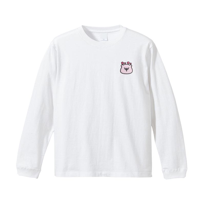 ともだちはくま 刺繍ロングTシャツ (えがお) M