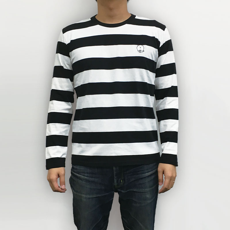 自分ツッコミくま 刺繍長袖Tシャツ ボーダー M