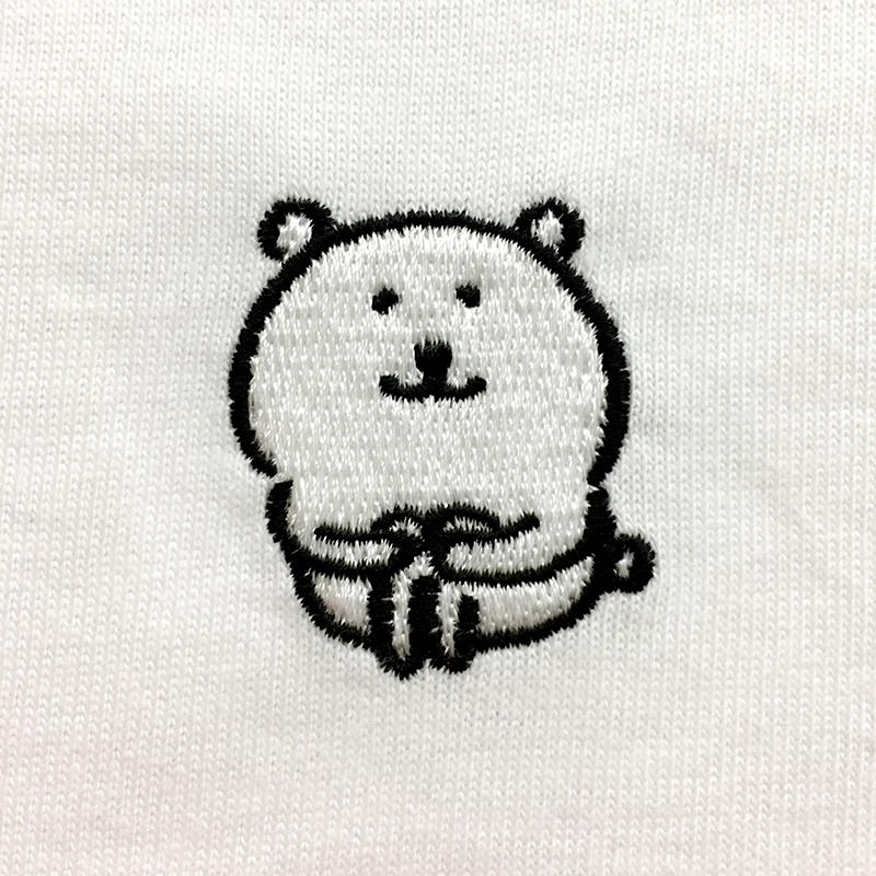 自分ツッコミくま 刺繍長袖Tシャツ ホワイト M
