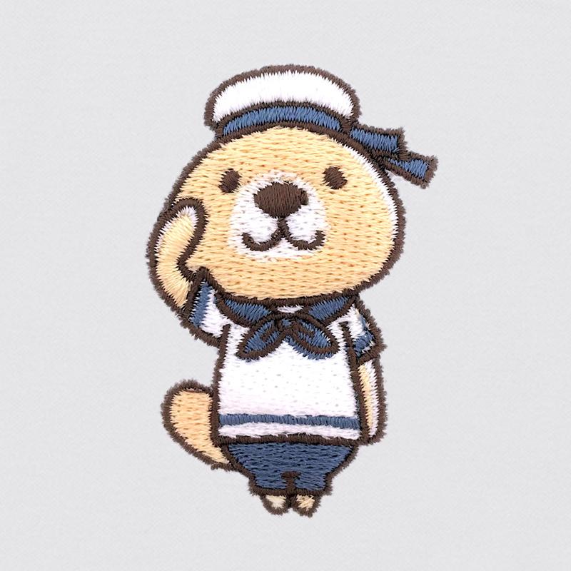 突撃!ラッコさん 刺繍ポロシャツ ホワイト L