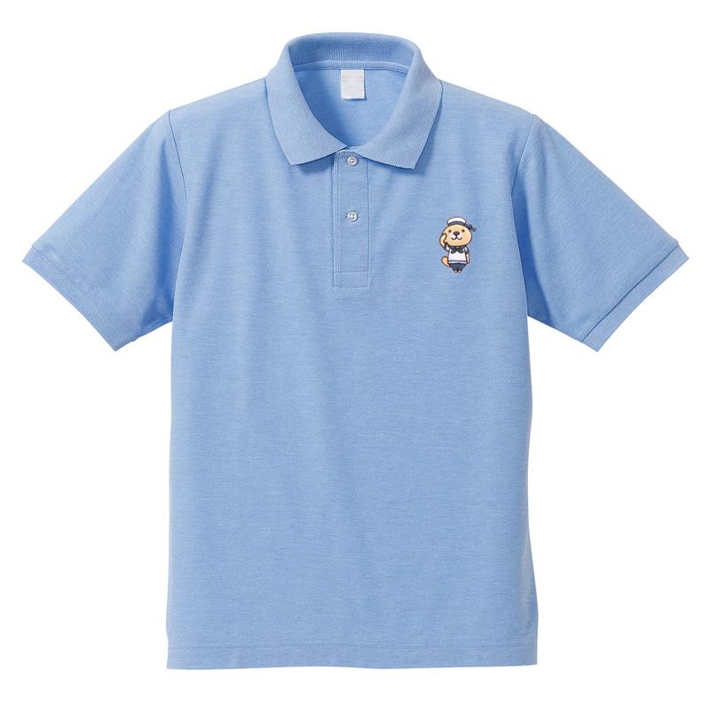 突撃!ラッコさん 刺繍ポロシャツ ブルー M