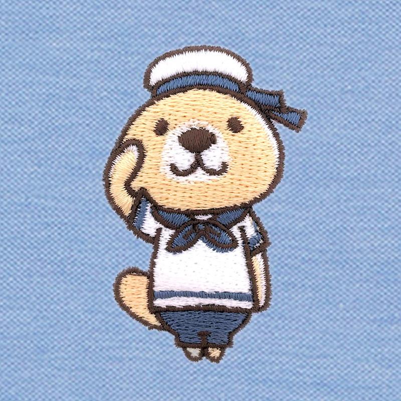 突撃!ラッコさん 刺繍ポロシャツ ブルー L