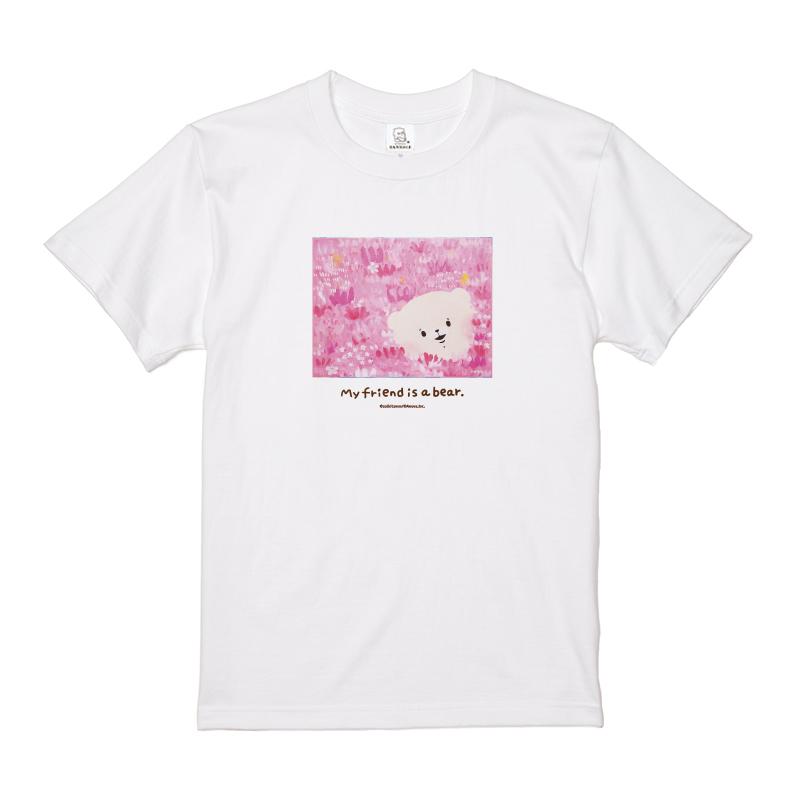 ともだちはくま Tシャツ (はなとくま) L