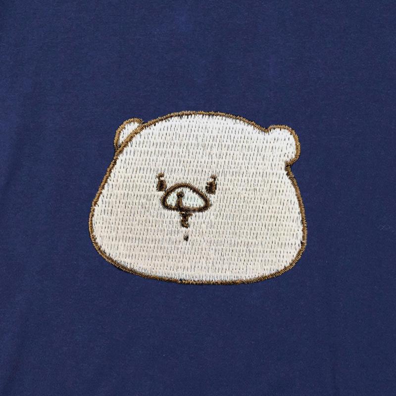 ともだちはくま 刺繍Tシャツ インディゴ  L