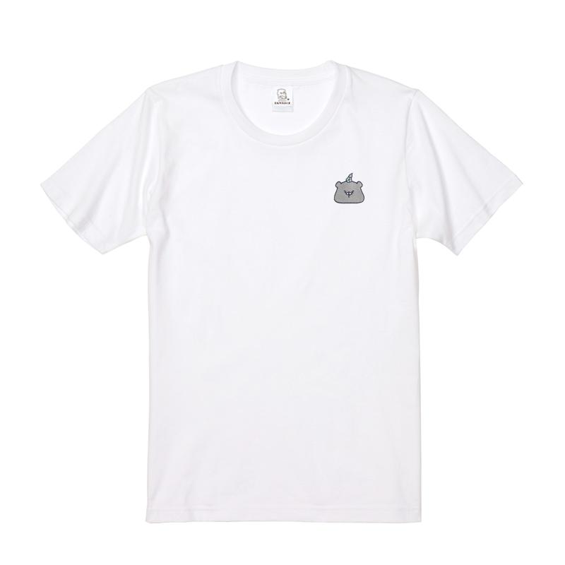 ともだちはくま 刺繍Tシャツ (つきのわぐま) ホワイト M