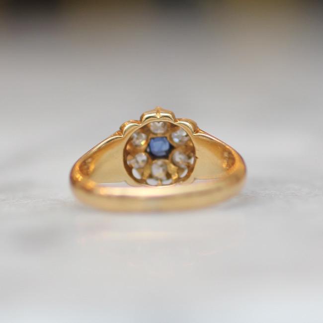 アンティーク ダイアモンド&サファイア クラスターリング