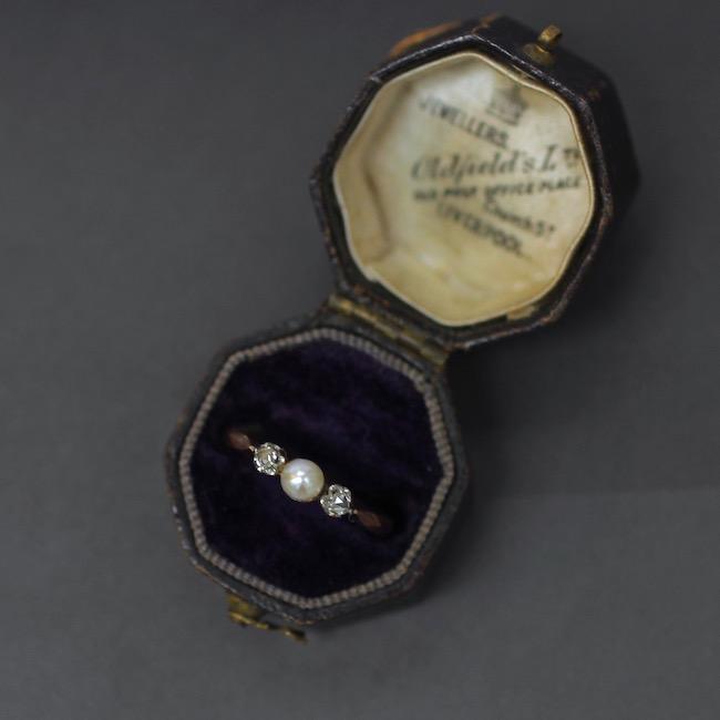 アンティーク 天然真珠 ローズカットダイヤリング