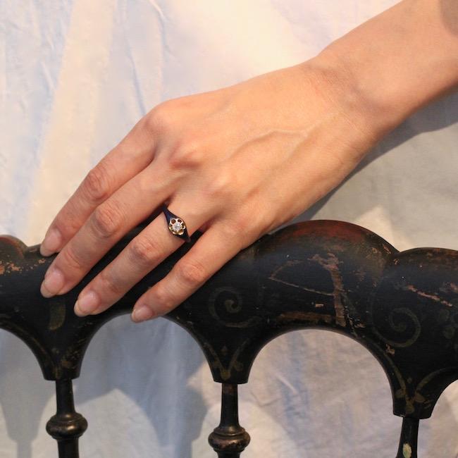 19世紀中期 ブルーエナメル ダイヤモンド ソリティアリング