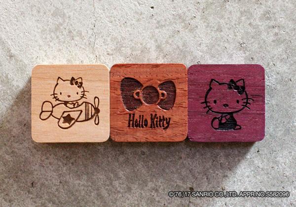 【ハローキティ】キティちゃんの木製マグネット(3個1セット)