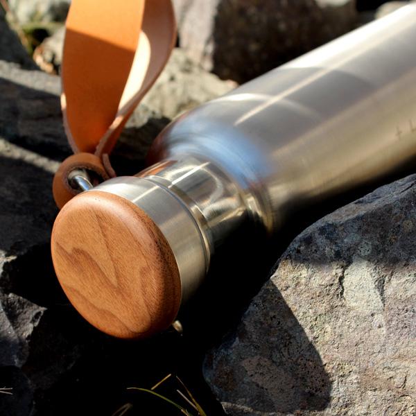 「THERMO BOTTLE 600ml」ステンレス素材に銘木をプラスした木製水筒・サーモボトル・タンブラー