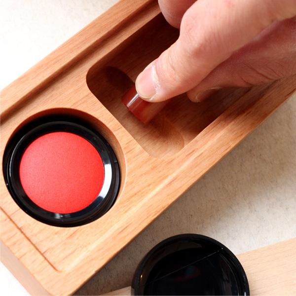 【Hacoa×HERZ】【M】「STAMP MAT & CASE Mサイズ」木と革の捺印マット付き印鑑ケース/北欧風デザイン