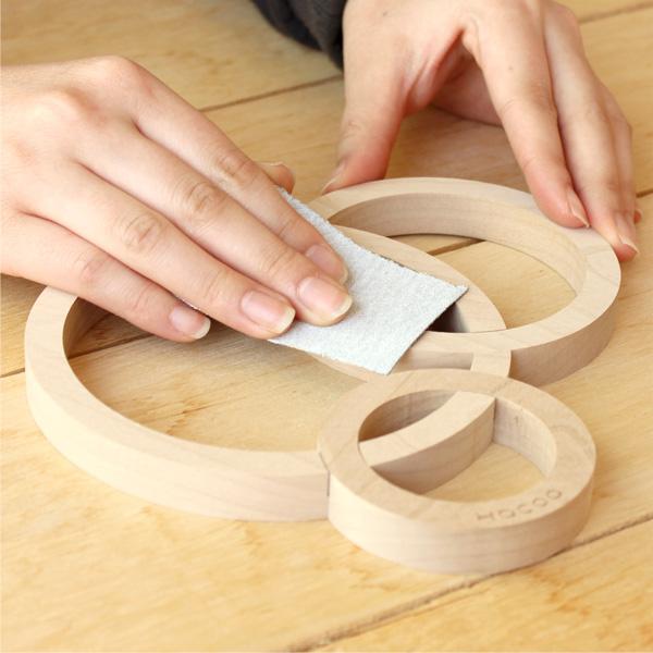「Quoit クオイト」本物の木材を使用した鍋敷き/キッチン雑貨/トリベット/北欧風デザイン
