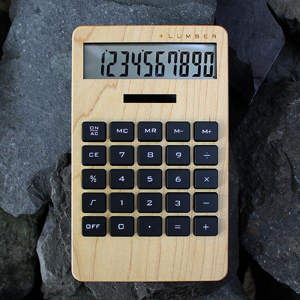 ■【WIDE2】「SOLAR POWERED CALCULATOR WIDE2」大判の10桁表示木製ソーラー電卓