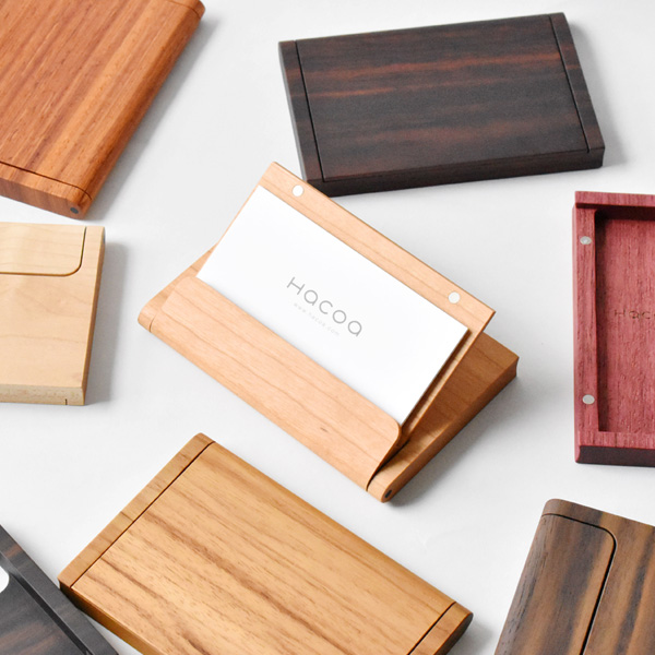「Hacoa CardCase <チーク>」木製名刺ケース/Hacoaブランド/北欧風デザイン