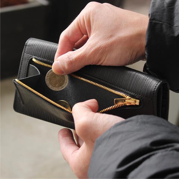 「WOODY Slim Wallet」本物の木目を型押しした、本革のおしゃれな長財布/メンズ/レザー