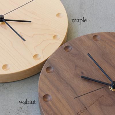 【送料無料】「WallClock Round」木でできたおしゃれな壁掛け・置き時計。結婚式・ブライダル・両親へのプレゼント・出産祝いに/Hacoaブランド