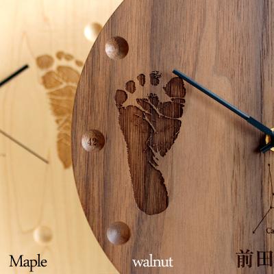 【足跡】【刻印代込】「WallClock Round」出産祝いのギフトプレゼントに赤ちゃんの足跡を刻印、木材を贅沢に使用したおしゃれな壁掛け・置き時計