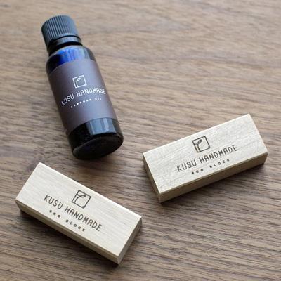 KUSU HANDMADE「エコブロック12個+カンフルオイル10ml」クスノキのやさしい香りで防虫を/贈り物に最適!