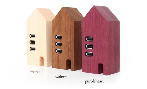 【ネット限定】「USB Hub House」家の形のかわいい木製USBハブ/北欧風デザイン