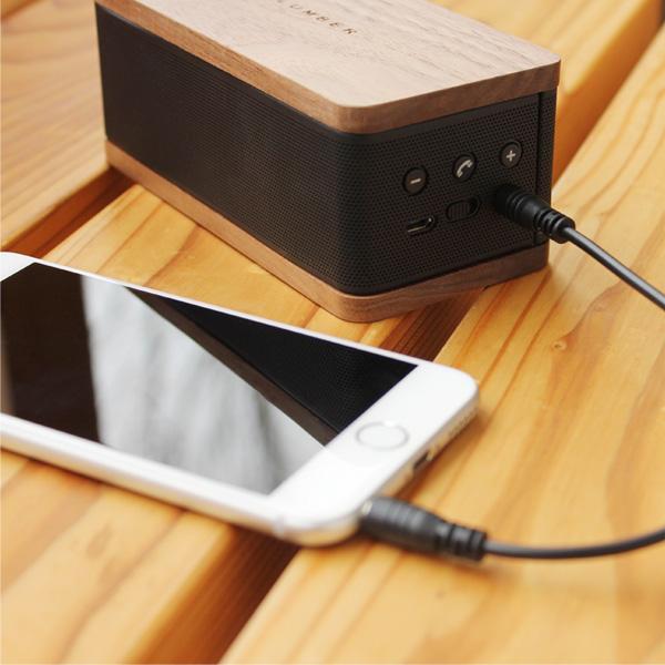 ■「MOBILE SPEAKER」Bluetoothでスマホと接続可能 木目が美しいスピーカー