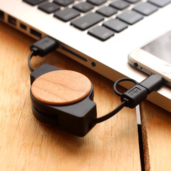 ■【ネット限定】「CHARGE&SYNC RETRACTABLE CABLE」micro USB・Lightningに対応。巻き取り式の木製USBケーブル