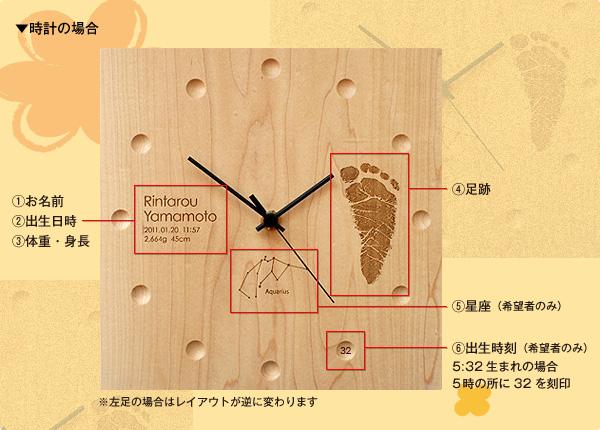 【足跡】【刻印代込】「WallClock Square」出産祝いのギフトプレゼントに赤ちゃんの足跡を刻印、木材を贅沢に使用したおしゃれな壁掛け・置き時計