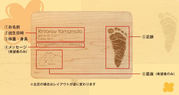 【刻印代込】「Message Board B6サイズ(足跡刻印)」出産祝いのギフトプレゼントに赤ちゃんの足跡を刻印、無垢材のおしゃれなメッセージボード