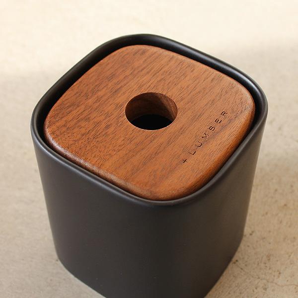 ■「COTTON BALL BOX」木と陶器の質感を生かしたコットンボックス【+LUMBER】