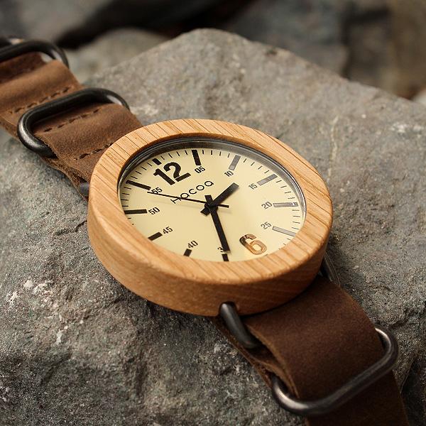 「Wooden Watch NATO STYLE」無垢の天然木をおしゃれに組み込んだ木製腕時計/メンズ/レディース