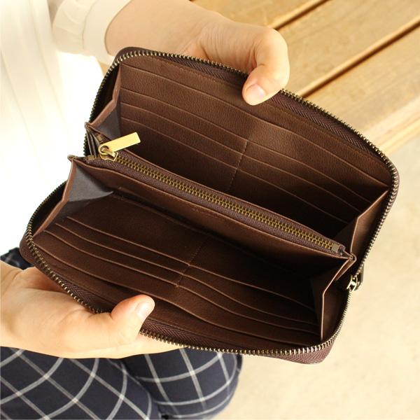 「CONNIE Zip Round Wallet」コルクを活用、ジッパー仕様の大容量な長財布/Anewoodブランド/名入れ可能