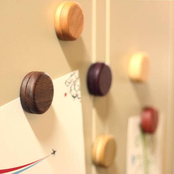 「Macarons」マカロンのようにカラフルでかわいい木製マグネットセット/Hacoaブランド/北欧風デザイン