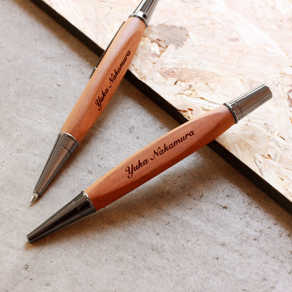 ■【+LUMBER】【セット】名入れ無料の三角型木製ボールペン・シャープペンシル ギフトセット