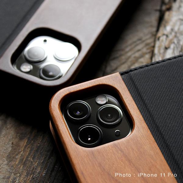【11Pro】【プレミアム】「iPhone 11Pro FLIPCASE(黒檀)」木目が美しい手帳型アイフォンケース【5.8インチ】【Qi対応】