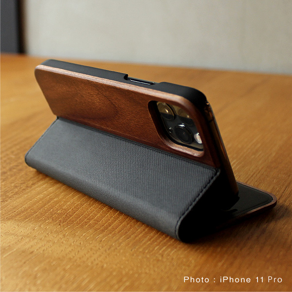 ■【11/XR】【プレミアム】「iPhone 11 FLIPCASE(黒檀)」木目が美しい手帳型アイフォンケース【6.1インチ】