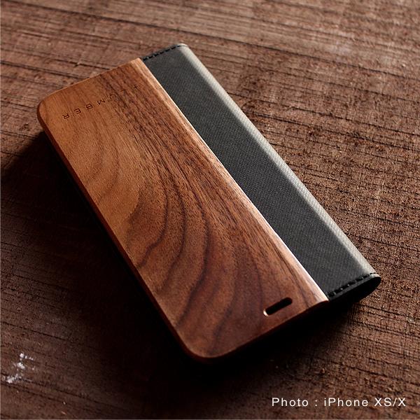 【11】【プレミアム】「iPhone 11 FLIPCASE(黒檀)」木目が美しい手帳型アイフォンケース【6.1インチ】