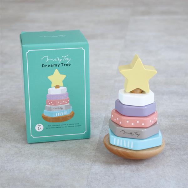【名入れ込】「Dreamy Tree」パステルカラーがかわいい、ゆらゆら揺れる木のおもちゃ/エド・インター/Milky Toy/スタッキングリング