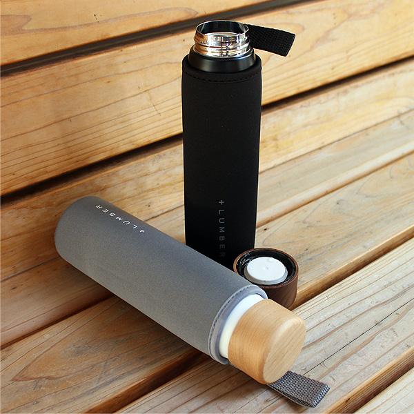 【販売終了】「THERMO BOTTLE 320ml」ステンレス素材に銘木をプラスしたスリム水筒(サーモボトル・タンブラー)
