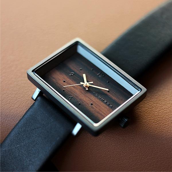 ■「WATCH 1200」文字盤に本木目を使用したシンプルな四角い木の腕時計/メンズ/レディース スクエアウォッチ