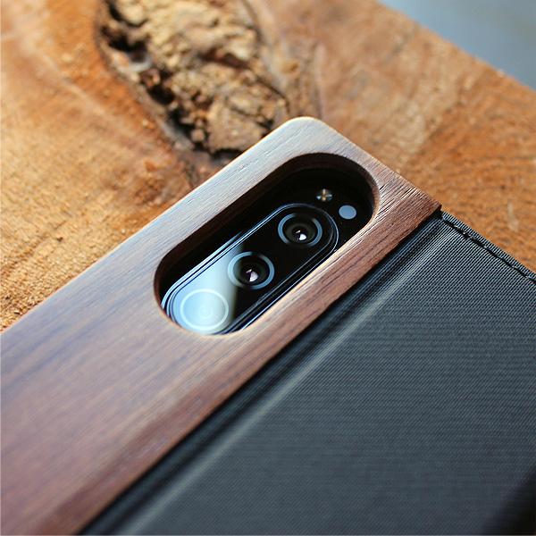 ■【5】「Xperia5 FLIPCASE」木目の美しさを活かした手帳型スマートフォンケース/SO-01M/SOV41/901SO