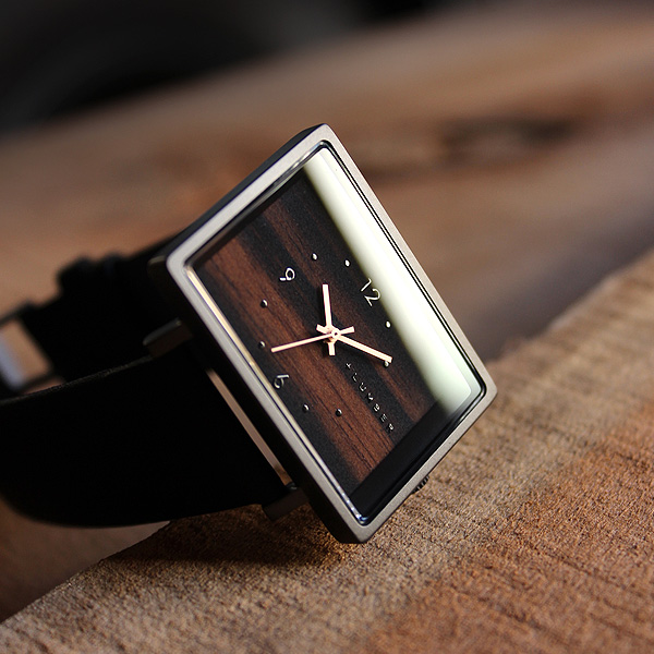 ■【ペア】「WATCH 1200 ギフトセット」文字盤に本木目を使用したシンプルな四角い木の腕時計・ペアウォッチ