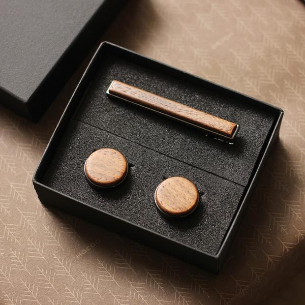 ■【セット】「TIE PINS & CUFF LINKS ギフトセット」木製ネクタイピン・カフリンクス(カフス)