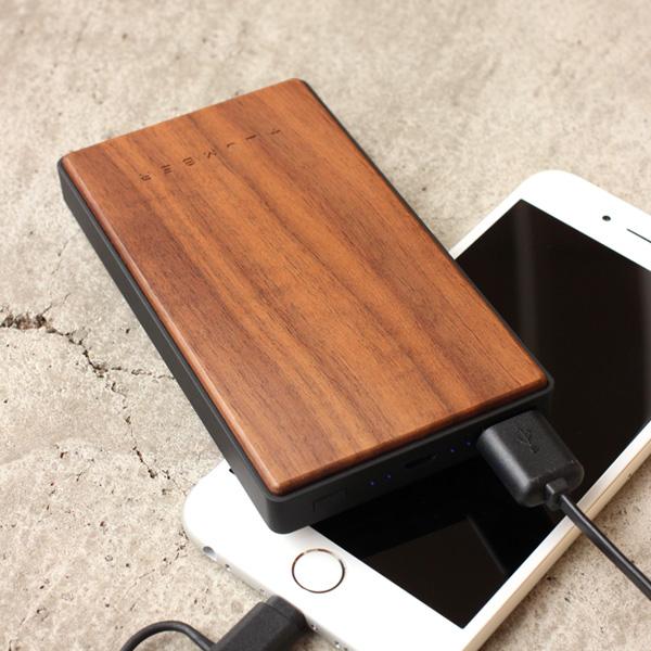 ■【プレミアム】【4000mAh】「POWERBANK 4000(黒檀)」木製モバイルバッテリー。iPhoneにも対応【PSE認証】