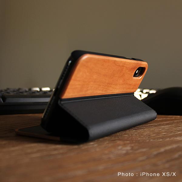 【XS/X】【プレミアム】「iPhone XS/X FLIPCASE(黒檀)」木目の美しさをシンプルに表現した手帳型スマートフォンケース【Qi対応】