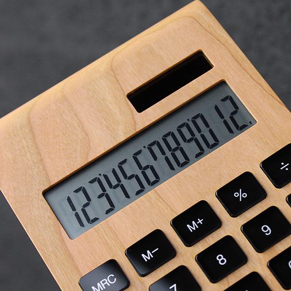 「Solar Battery Calculator Desk Type」12桁表示の木製ソーラー電卓/北欧風デザイン